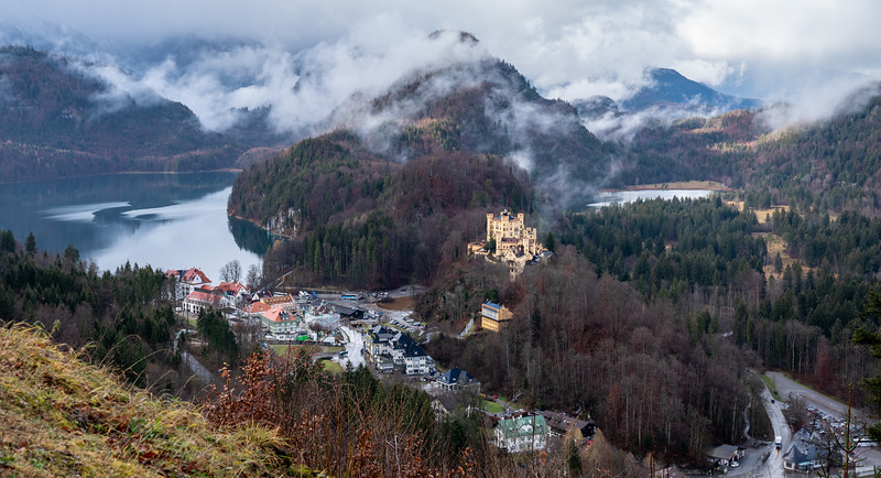 From Neuschwanstein's hill, overlooking the tourist center and Hohenschwangau Castle