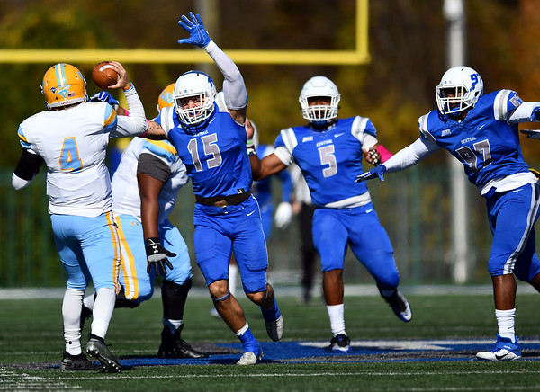 10/26/2019 Mike Orazzi | StaffrCCSU's Mike Mushaw (15) during Saturday's football game with LIU in New Britain.