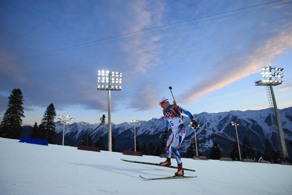 . Ondrej Moravec of the Czech Republic competes in the Men\'s Sprint 10 km during day one of the Sochi 2014 Winter Olympics at Laura Cross-country Ski & Biathlon Center on February 8, 2014 in Sochi, Russia.  (Photo by Richard Heathcote/Getty Images)