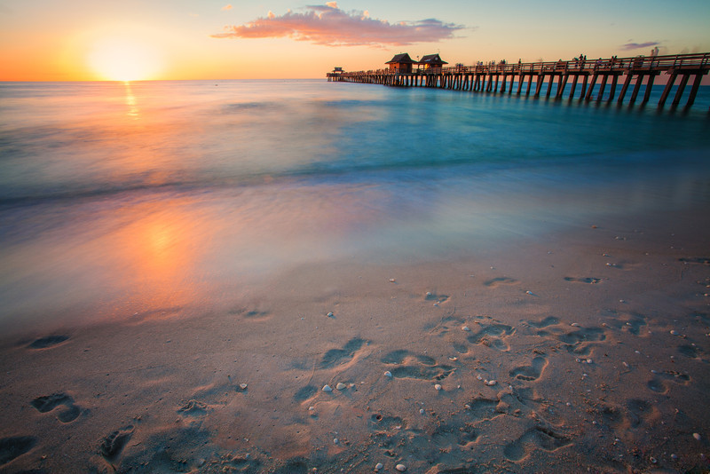 Sunset over Naples Pier, Naples, Florida