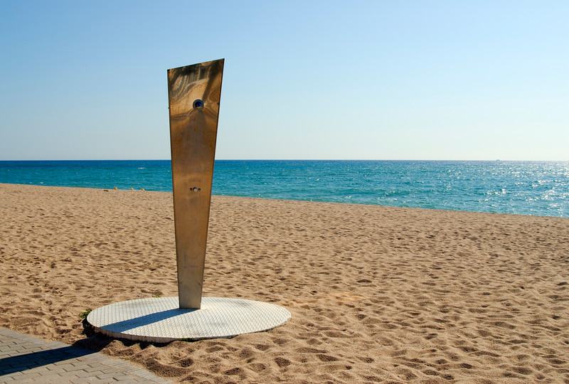 Shower on Empty Beach, Costa Brava