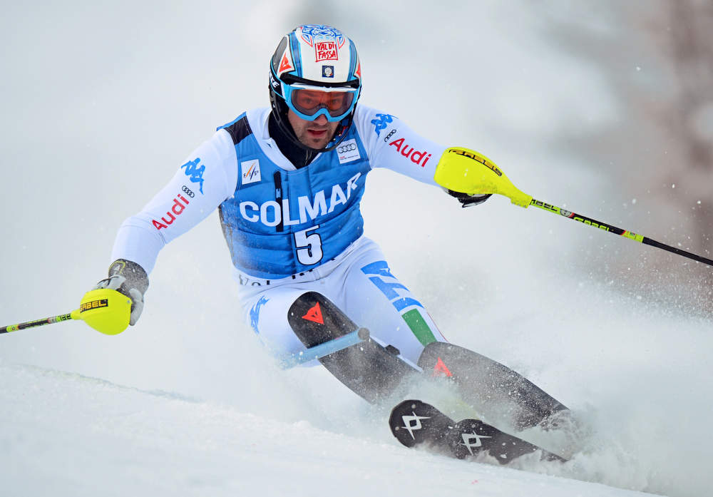 . Italian Cristian Deville competes in the first run of FIS World Cup men\'s slalom on December 8, 2012 in Val d\'Isere, French Alps.     AFP PHOTO/PHILIPPE  DESMAZES/AFP/Getty Images