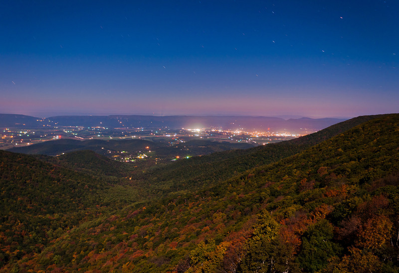 Night View of Shenandoah Valley from Crescent Rock Overlook, Skyline Drive, Shenandoah National Park, Virginia