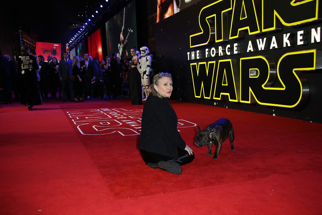 . Carrie Fisher poses for photographers with a dog upon arrival at the European premiere of the film \'Star Wars: The Force Awakens \' in London, Wednesday, Dec. 16, 2015. (Photo by Joel Ryan/Invision/AP)