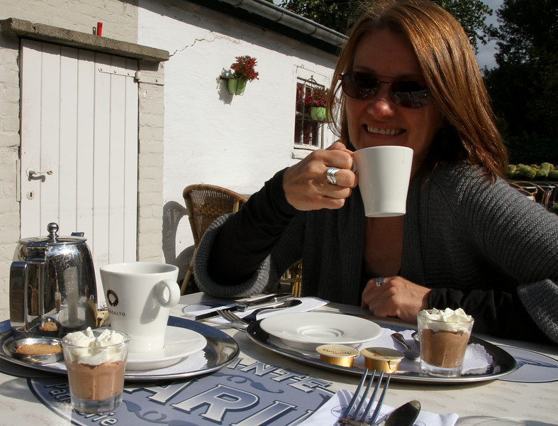 I like how they serve coffee here - with chocolate mousse and whipped cream!