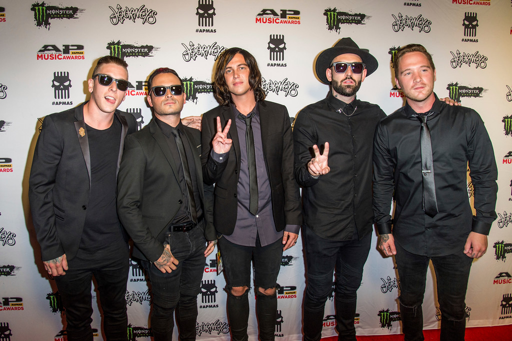. Justin Hills, from left, Nick Martin, Kellin Quinn, Jack Fowler and Gabe Barham of Sleeping With Sirens seen at 2017 Alternative Press Music Awards at the KeyBank State Theatre on Monday, July 17, 2017, in Cleveland. (Photo by Amy Harris/Invision/AP)
