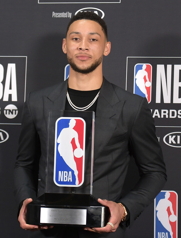 . Ben Simmons, of the Philadelphia 76ers, poses in the press room with the rookie of the year award at the NBA Awards on Monday, June 25, 2018, at the Barker Hangar in Santa Monica, Calif. (Photo by Richard Shotwell/Invision/AP)