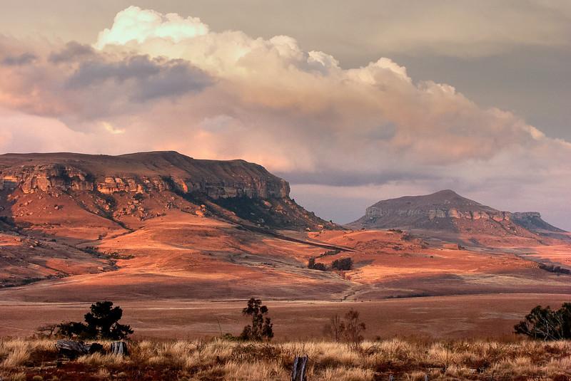 Sunset in Drakensberg Mountains