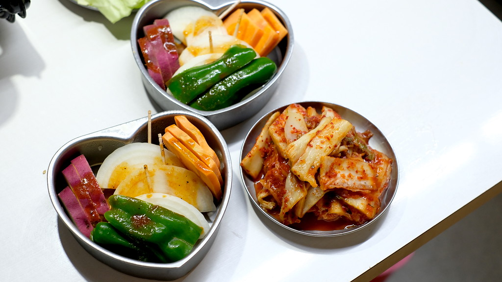 Vegetables for grilling, kimchi for nibbling.