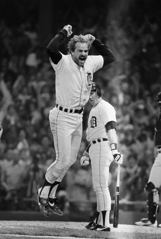 . Kirk Gibson jumps after his eighth-inning home run that helped the Tigers beat San Diego, 8-4, and win the World Series on Oct. 14, 1984 in Detroit. (AP Photo/Rusty Kennedy)