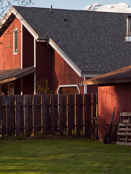 Nice light on our neighbor's house, which was looking farm-like. 5-10-2010.