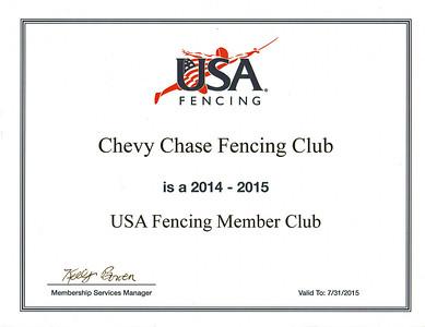 US Fencing Club Member Certificates
