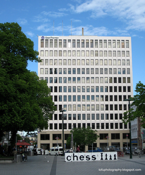 Building with a giant chess board in front of it in Christchurch, New Zealand in November 2010