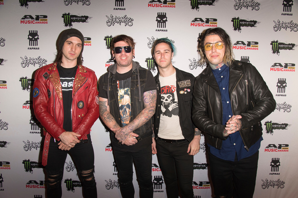 . Christian Thompson, from left, Derek Jones, Zakk Sandler and Ronnie Radke of Falling In Reverse seen at 2017 Alternative Press Music Awards at the KeyBank State Theatre on Monday, July 17, 2017, in Cleveland. (Photo by Amy Harris/Invision/AP)