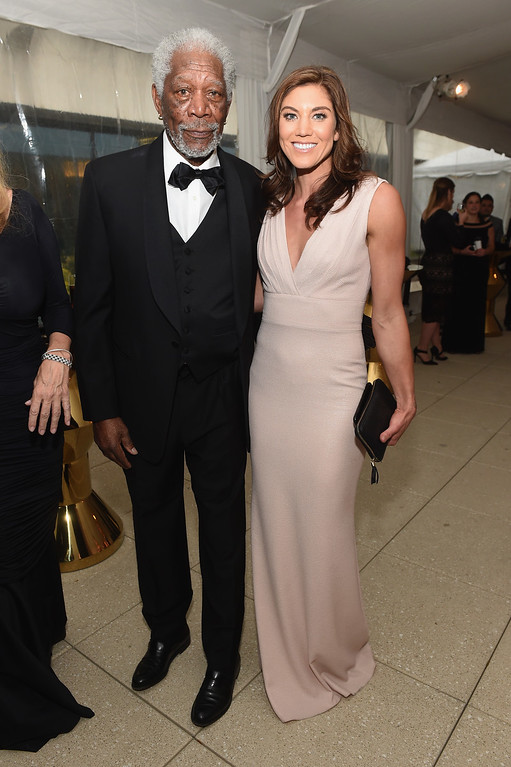 . Actor Morgan Freeman and Hope Solo attend the Atlantic Media\'s 2016 White House Correspondents\' Association Pre-Dinner Reception at Washington Hilton on April 30, 2016 in Washington, DC.  (Photo by Jamie McCarthy/Getty Images)