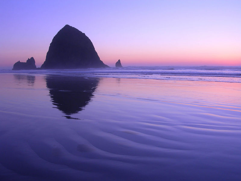 This is Haystack Rock on Cannon Beach just after the sun set.