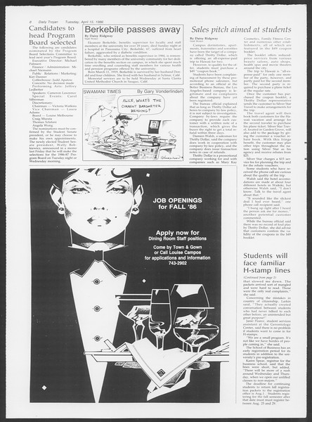 Daily Trojan, Vol. 100, No. 60, April 15, 1986