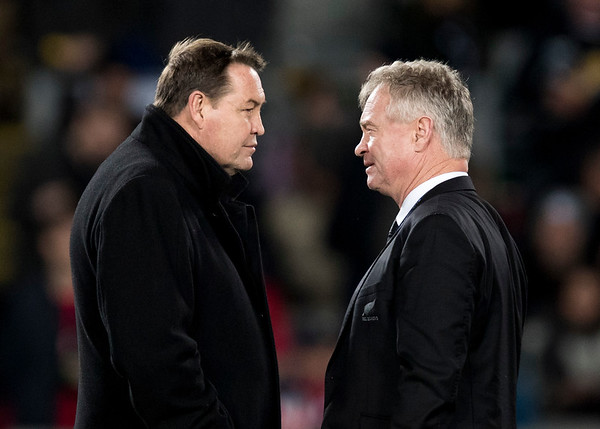 Steve Hansen & Grant Fox during game 7 of the British and Irish Lions 2017 Tour of New Zealand, the first Test match between  The All Blacks and British and Irish Lions, Eden Park, Auckland, Saturday 24th June 2017 (Photo by Kevin Booth Steve Haag Sports)  Images for social media must have consent from Steve Haag