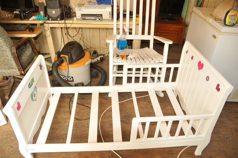 10 09-08   Youth bed and rocker found in attic which will get a paint job and a new mattress. mlj