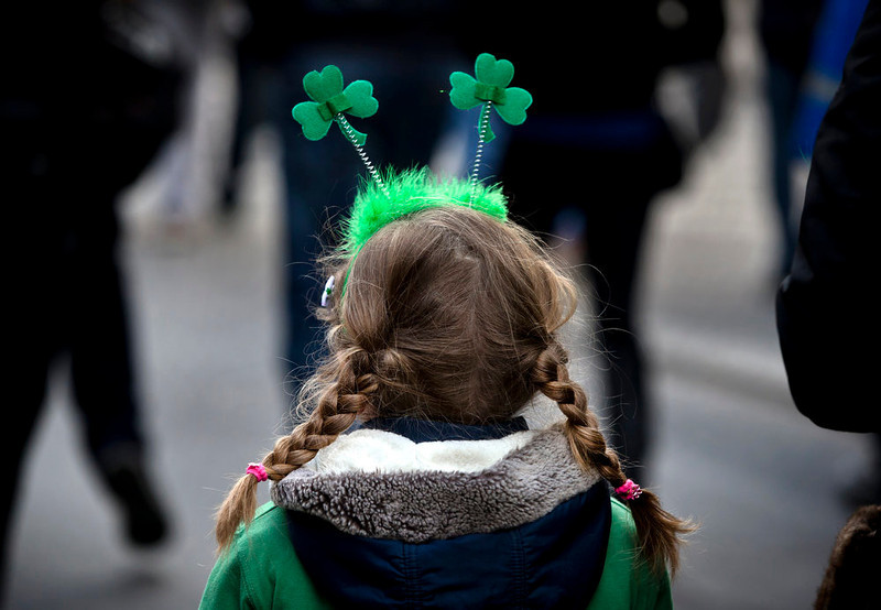 . A child takes part in a St. Patrick\'s Day celebration in Bucharest, Romania, Sunday, March 17, 2013. (AP Photo/Vadim Ghirda)