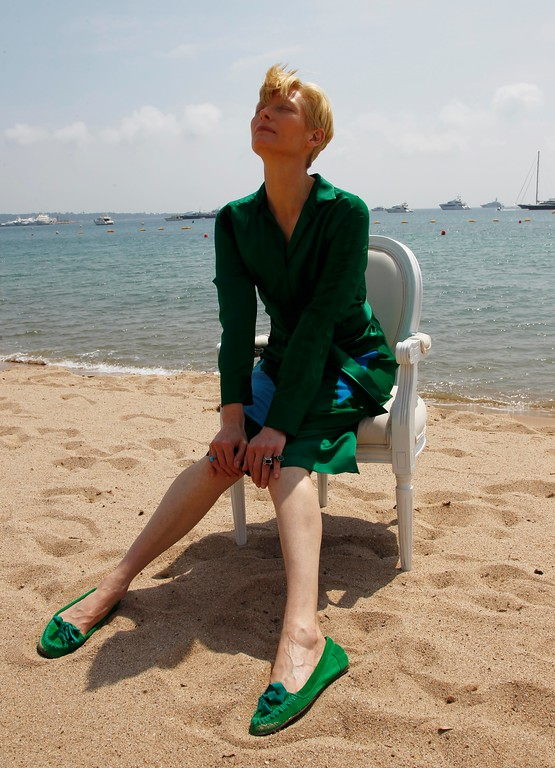 . Actress Tilda Swinton poses during a portrait session at the American Pavilion at the 64th international film festival, in Cannes, southern France, Friday, May 13, 2011. (AP Photo/Francois Mori)