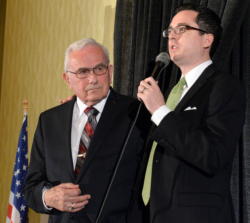 . David Krake, right, and Jack Carmichael during the 49th annual Mayor�s Prayer Breakfast at the Radisson Hotel Whittier on Friday April 18, 2014. The prayer breakfast is modeled after the National Prayer Breakfast in Washington D.C. and was started in Whittier in 1965 . (Staff Photo by Keith Durflinger/Whittier Daily News)