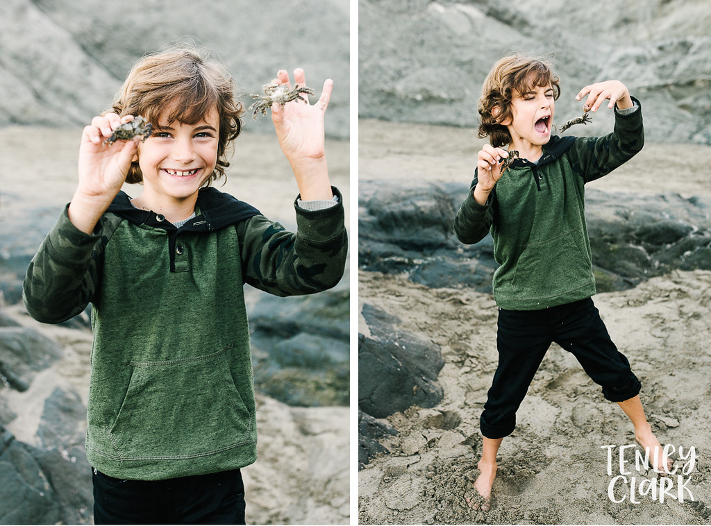 Lifestyle family photography session and model portfolio/headshot shoot at Baker Beach in San Francisco by Tenley Clark Photography.