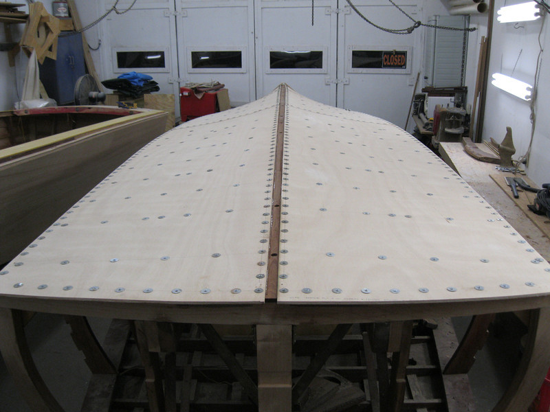 Rear view of the first layer of bottom installed.