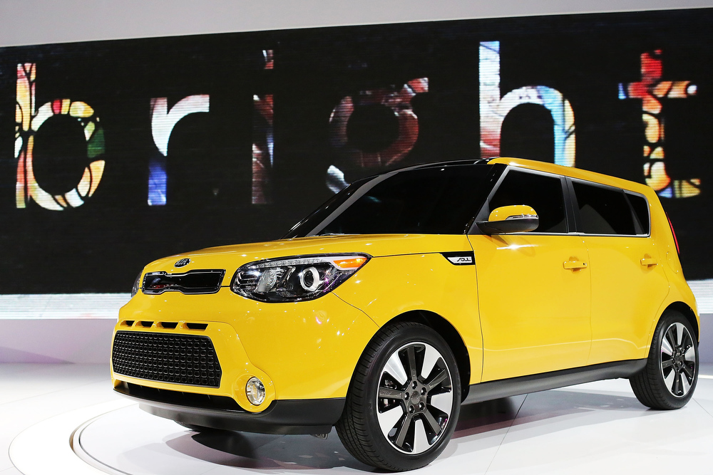 Description of . The new 2014 Kia Soul is displayed at the 2013 New York International Auto Show on March 27, 2013 in New York City.  The New York Auto Show will open to the public on Friday and run until April 7.  (Photo by Spencer Platt/Getty Images)