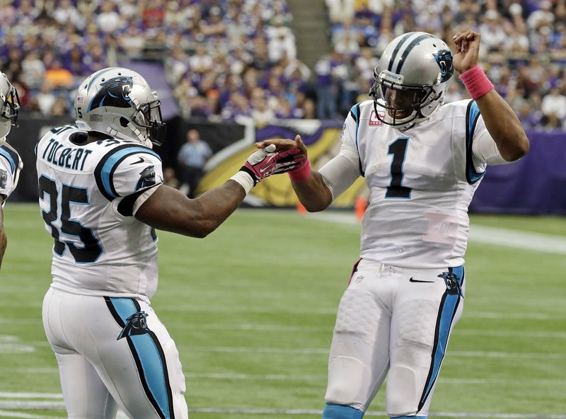 . <p><b> Rams at Panthers (-6):</b>  <p>Cam Newton had a career game on Sunday, accounting for four touchdowns and nearly 300 total yards in the Panthers� rout of the Vikings. It was his greatest performance since his first season as a professional: his junior year at Auburn. <p>Pick: <b>Panthers by 3</b> <p>   (AP Photo/Jim Mone)
