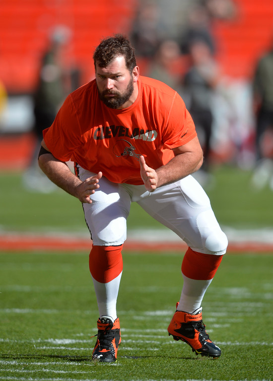 . Cleveland Browns tackle Joe Thomas warms up before an NFL football game between the Arizona Cardinals and the Cleveland Browns, Sunday, Nov. 1, 2015, in Cleveland. (AP Photo/David Richard)
