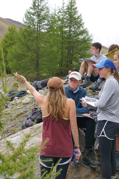 Ms. Williams pointing out some glacial features to Landen and Ashley