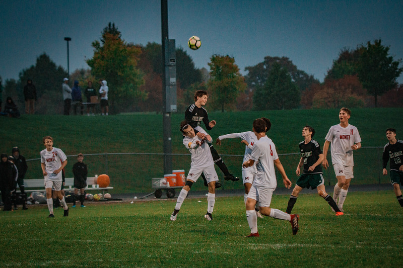 Holy Family Boys Varsity Soccer Section 6A Quarterfinal vs. Monticello, 10/10/19: Ryder Ferguson '22 (5)
