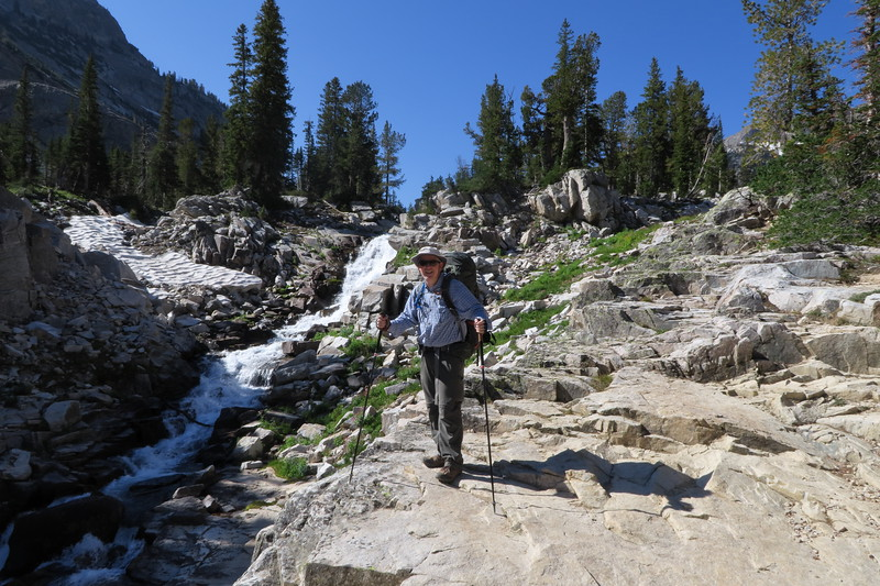 James (me) and the waterfall on Cascade Creek - Upper South Cascade Canyon