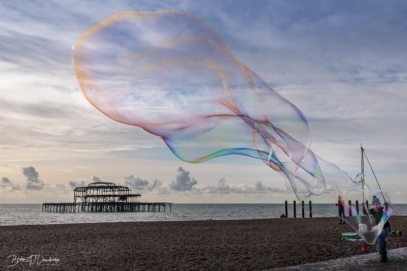 Giant Bubble on Brighton Beach