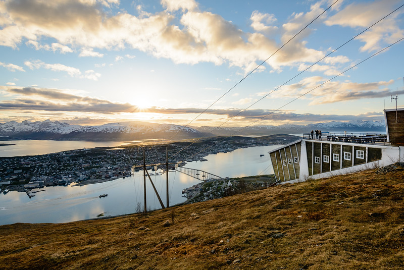 Cable car upper station. Great view of the city and the midnight sun, Fjellheisen in Tromsø
