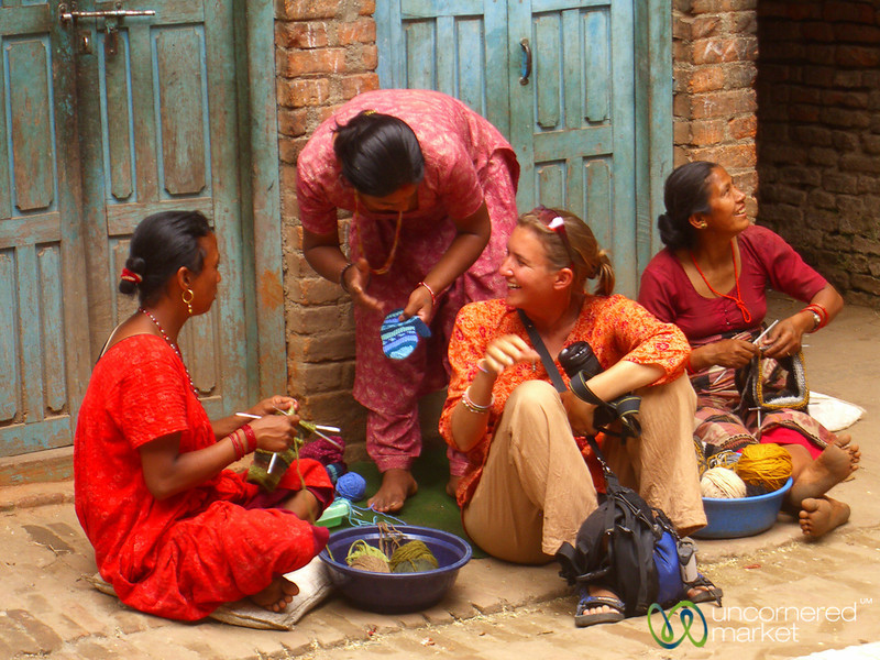 Audrey Learns about Knitting -  Bhaktapur, Nepal