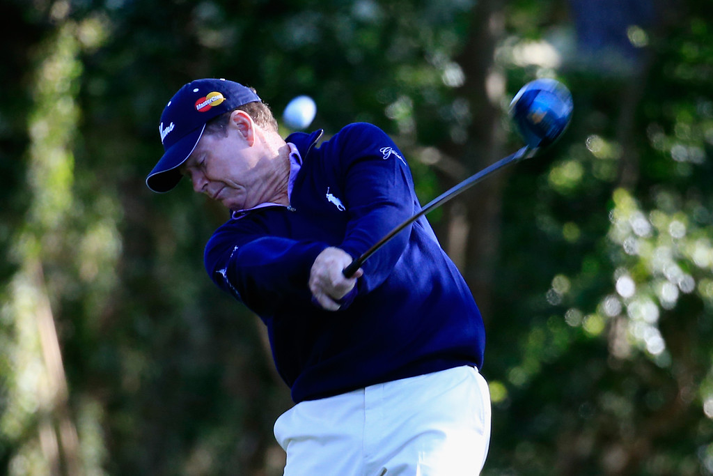 . Tom Watson of the United States hits his tee shot on the second hole during the first round of the 2014 Masters Tournament at Augusta National Golf Club on April 10, 2014 in Augusta, Georgia.  (Photo by Rob Carr/Getty Images)