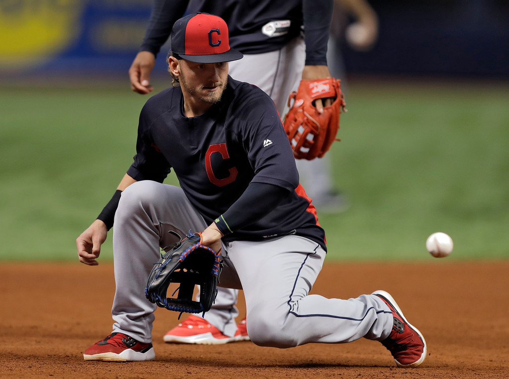. Cleveland Indians third baseman Josh Donaldson takes infield practice before a baseball game against the Tampa Bay Rays Monday, Sept. 10, 2018, in St. Petersburg, Fla. Donaldson was acquire in a trade with the Toronto Blue Jays. (AP Photo/Chris O\'Meara)