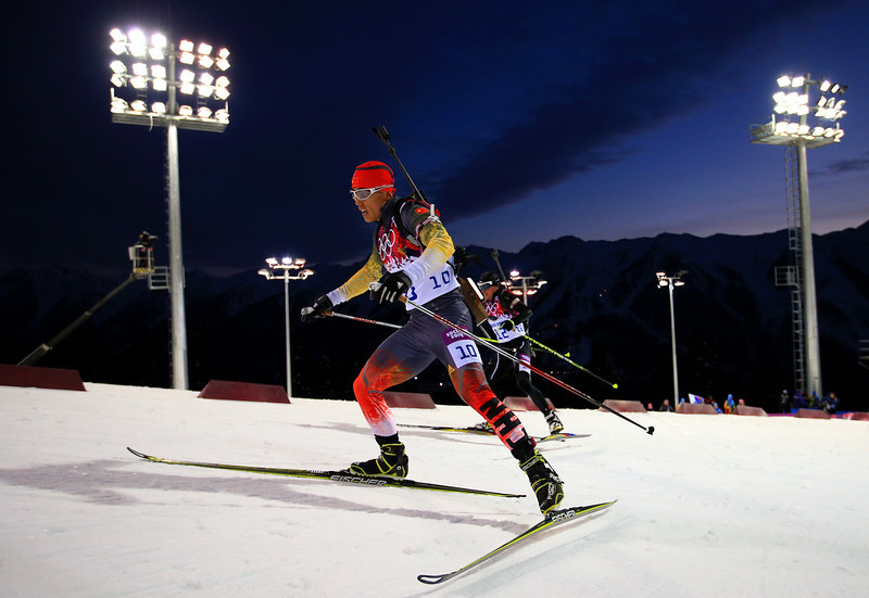 . Long Ren of China competes in the Men\'s Sprint 10 km during day one of the Sochi 2014 Winter Olympics at Laura Cross-country Ski & Biathlon Center on February 8, 2014 in Sochi, Russia.  (Photo by Richard Heathcote/Getty Images)