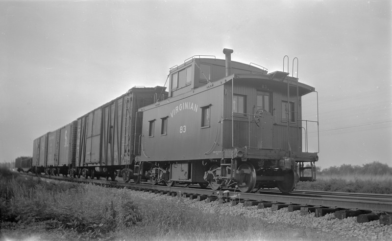 2018.15.N81.6226--ed wilkommen 116 neg--VGN--caboose on hind end of freight train--Colman Place VA--1951 0600