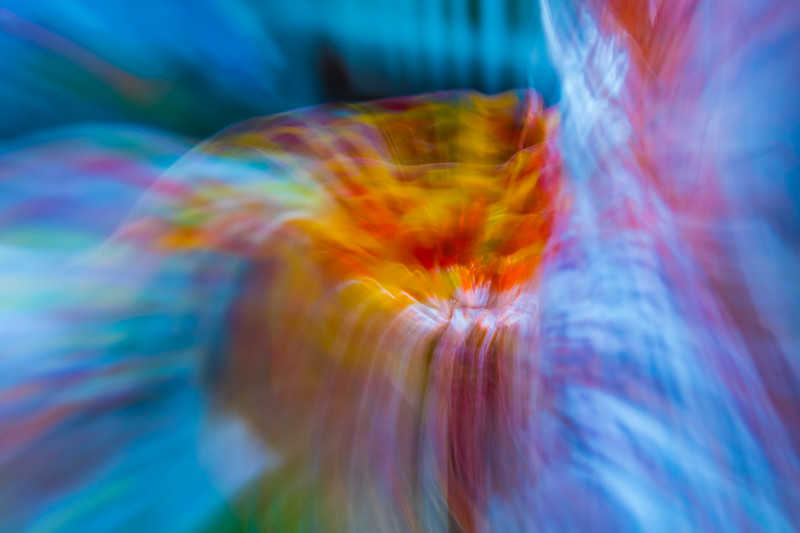 It looks like a volcano of abstract colors, both hot and cold, are pouring forth with motion blur