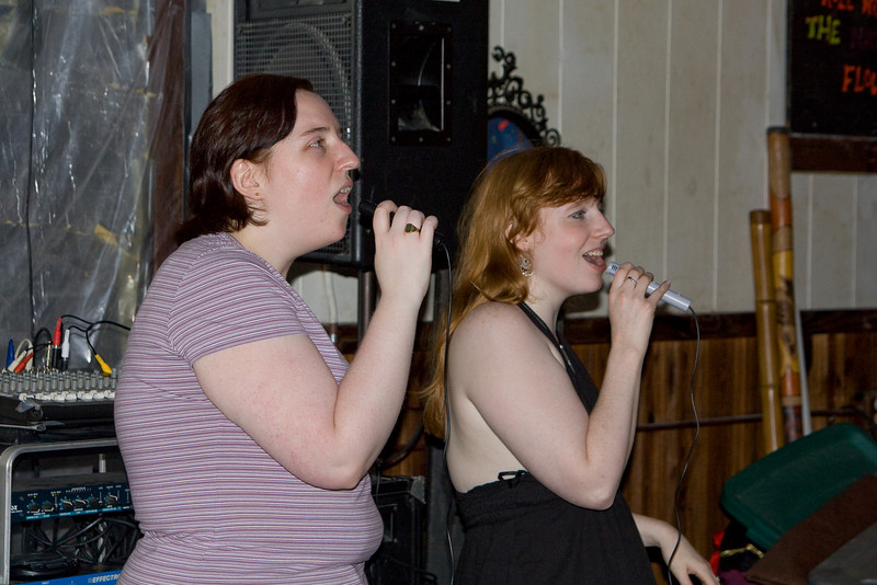Mindy and Sarah Beth singing karaoke