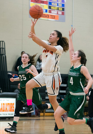 03/03/20 Wesley Bunnell | StaffrrThe EC Goodwin girls basketball team took on Griswold on Monday night March 3, 2020. Aiyana Montes (1).