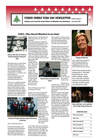 Christmas 2000 Fisher Family Newsletter