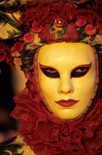 Portrait of Person Wearing Carnival Mask, Venice (Italy)