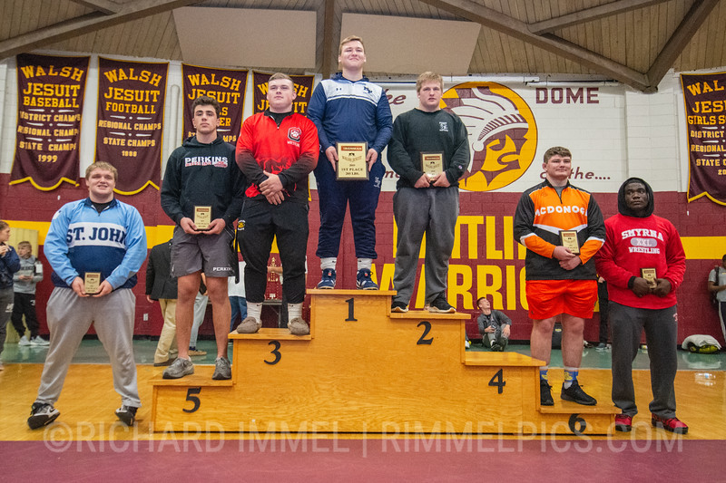 285: 1st Place - Cole Deery of Malvern Prep; 2nd Place - Max Millin of Massillon Perry; 3rd Place - Caden Hill of Crestview (Ashland); 4th Place - Matthias Ervin of Union County; 5th Place - Sam McNulty of Perkins; 6th Place - Garrett Kappes of McDonogh School; 7th Place - Ryan Elrod of St. John School; 8th Place - Hugo Harp of Smyrna