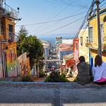 Girls enjoying the streets of Valparaiso, Chile