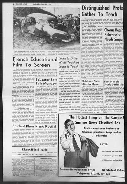 Summer News, Vol. 9, No. 2, June 23, 1954