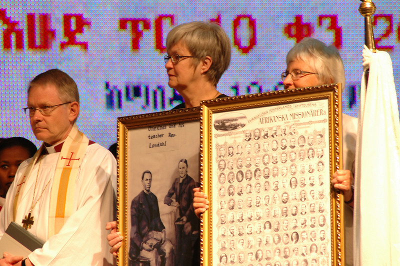 Church of Sweden Archbishop Anders Wejryd, left, was among the church leaders who attended EECMY's 50th anniversary celebration in Addis Ababa.  The Swedish church presented historical photographs of early Swedish missionaries to the EECMY Jan. 18.
